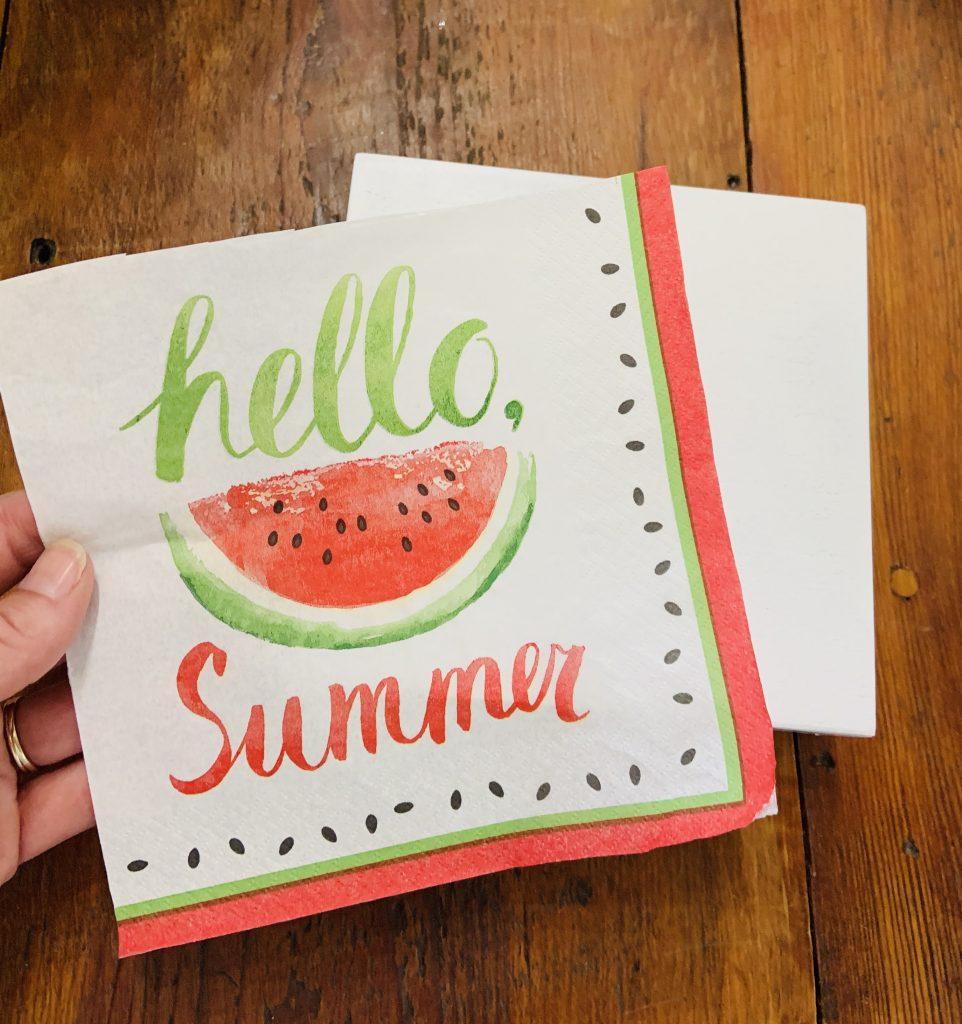 decoupaged summer watermelon sign