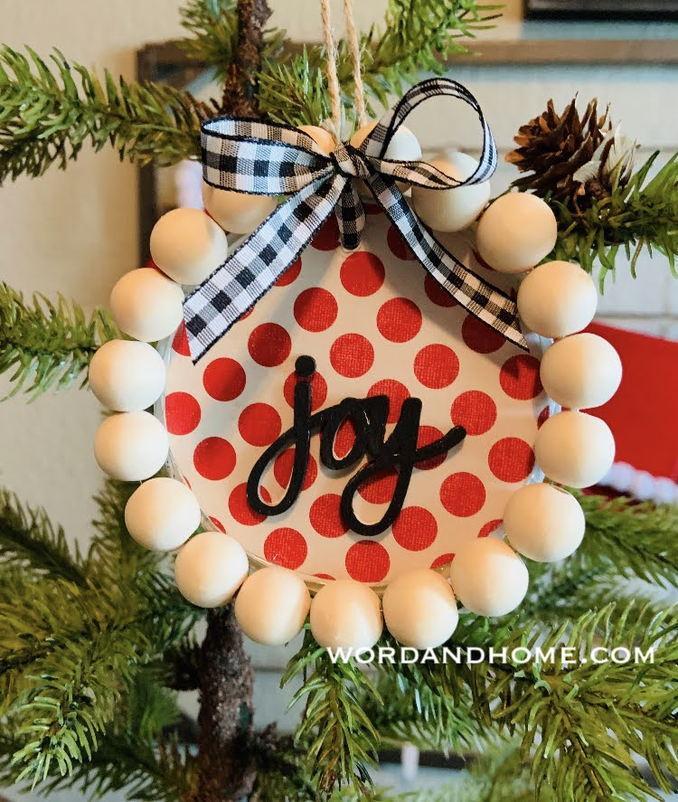 wood bead Christmas ornament