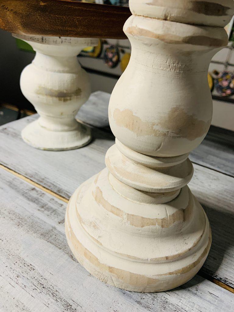 farmhouse pedestal trays - chunky & distressed