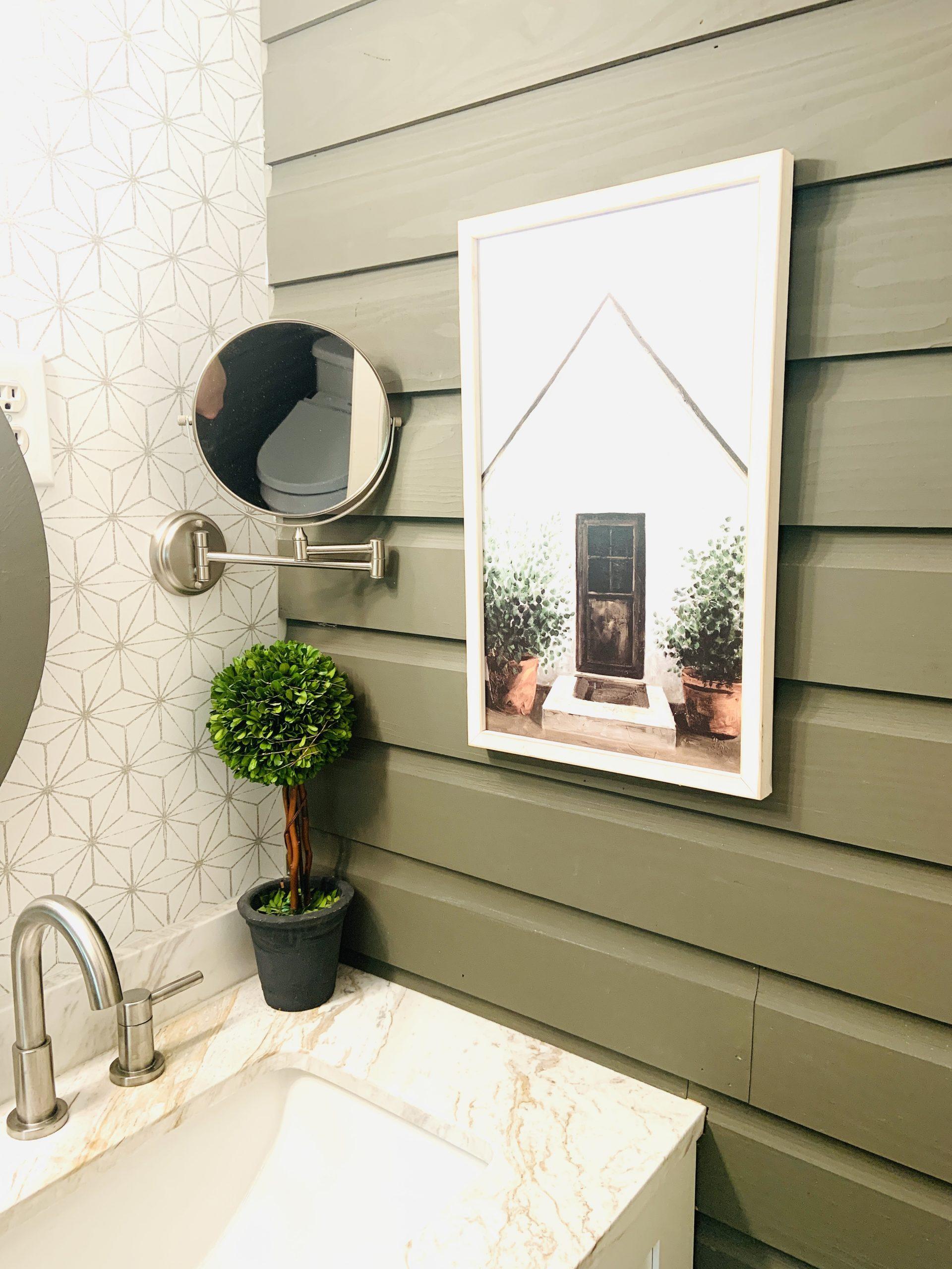 Bathroom mirror and farmhouse style painting